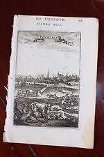 ✒ 1683 MANESSON MALLET vue de BRUXELLES Belgique carrosse Belle gravure Brussels