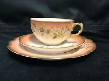 HAND PAINTED PEACH AND GOLD LIMOGES CUP-SAUCER AND DESSERT PLATE