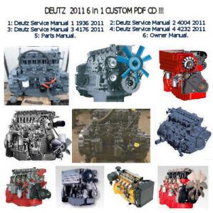 Deutz 2011 Engine Service Workshop Parts Owners Manuals, Custom  6 in 1  PDF CD