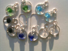 5 Pairs Crystal SP earring charms 2 Sterling Silver Interchangeable Kidney Wires