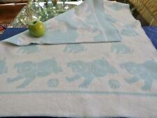 Vintage 30s-40s Pure Cotton Baby Boy Blanket Reversible Blue White Puppies 30x35