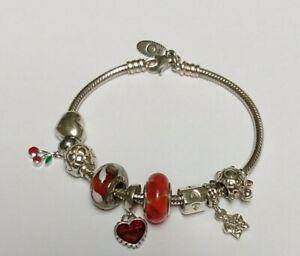 """Authentic Pandora Lobster Clasp Bracelet w/6 Pandora & 2 Silver Charms 7.1""""/18cm"""