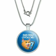 """Did You Catcall Me Cat With Phone 1"""" Pendant with Sterling Silver Plated Chain"""