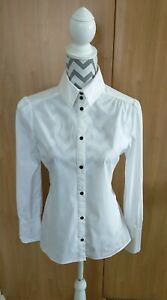 REISS white shirt blouse slim fit uk 14 black button details with stretch