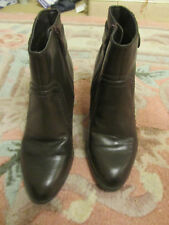 """M&S Brown 2.75"""" Cuban Heel Zip Up Ankle Boots in Size 3 wide fit"""
