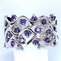 AAA Quality 925 Sterling Silver Jewelry Purple Amethyst Lady Band Ring Jewellery