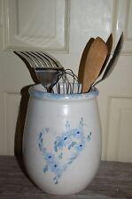 American country kiln fired Pottery utensil holder kitchen Blue Flower Heart