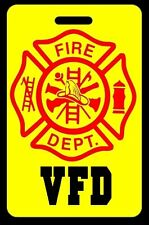 Safety Yellow VFD Firefighter Luggage/Gear Bag Tag - FREE Personalization - New
