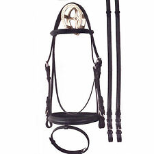 Bobby's Padded Dressage Bridle with Flash-Brass Hardware-Black-Warmblood Size
