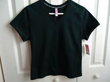 Top Blouse  Women Sz S New HUE    Black Short Sleeve V-Neck