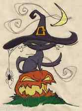 HALLOWEEN CAT IN THE HAT EMBROIDERED SET OF 2 HAND TOWELS RARE FIND beautiful