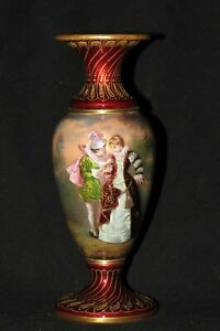 French Antique Enamel Courting Couple metal portrait Red Vase gold gilded?