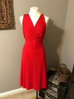Talbots Black Label Red Sleeveless Stretch Dress W Belt Large Petite P L PL
