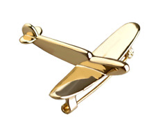 Air Hobby Pin Brooch Trendy Chic Gift Nwt Gold Cute Airplane Aircraft Travel Sky
