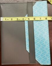 Tablet Ipad Sleeve 10 Inch Gray Faux Leather With Blue Honeycomb Pattern
