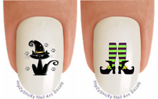 Nail Decals #727H HOLIDAY Halloween Cat Witch Shoes WaterSlide Nail Art Transfer