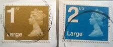 2 x USED GB 1ST & 2ND LARGE LETTER SECURITY MACHIN 2011 STAMPS MA11 MAIL
