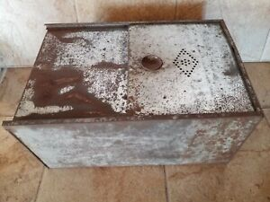 Antique Vtg Hoosier Style Cabinet Metal Drawer Bread Box Tin Punch Door 19x13x9