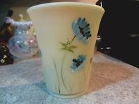 Fenton Glass Cameo Satin Handpainted Blue Floral Flip Vase , new