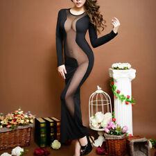 Womens Sexy Long Sleeve Maxi Dress Bodycon See Through Mesh Cocktail Clubwear