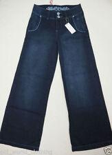 Indigo, Dark wash Wide Leg Regular Size Jeans for Women