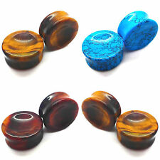 6-25mm Ear Plug Concave Stone Tunnel Saddle Tiger Eye Natural Turquoise Organic