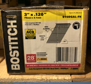 "Bostitch S10DGAL-FH 3'' X .120"" Round Head Wire Weld Framing Nail, (2,000-Pack)"