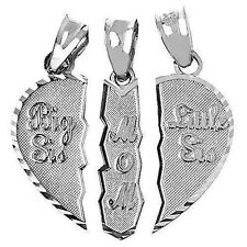 Mom Daughters Necklace Heart Pendant Gift Love Sister Family Silver 3 Pc Jewelry