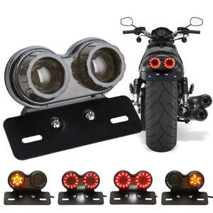 Motorcycle ATV 12V LED Dual Tail Light Turn Signal Brake License Plate Lights