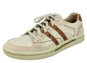 Mens Skechers Off White Leather Casual Lace Up Shoes : Kemps