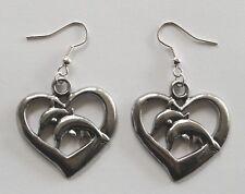(32mm) Silver Tone drop Earrings #137 Pewter Dolphins Heart
