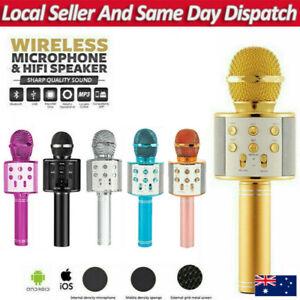 Karaoke Microphone Speaker Wireless Bluetooth Handheld Mic USB Player KTV WS858