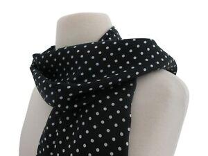 New Mens Designer Black Silk Scarf with White Polka Dot
