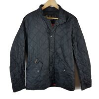 Barbour Mens Jacket Small Size S Black Diamond Quilted Coat Zip Through Button