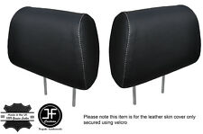 WHITE STITCH 2X FRONT HEADREST LEATHER COVERS FITS HOLDEN STATESMAN VR VS