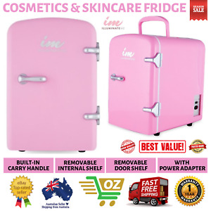 Cosmetics and Skincare Fridge Miniature Design Built-in Carry Handle 40W Pink