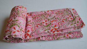 100% Indian Handmade Block Print Soft Bedding Coverlet Twin Size Kantha Quilt