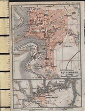 1925 GERMAN MAP ~ ROTHENBURG PLAN ENVIRONS ~ JAKOBS CHURCH SPITAL HOSPITAL