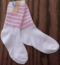 Vintage baby socks TWO CRESCENT pink white infant vintage 1960s 1970s UNUSED