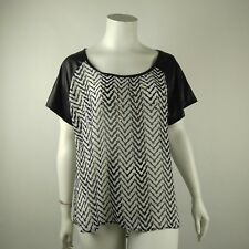 Love2BME Womens Blouse Semi Sheer Faux Leather Embellished Plus Size 2X