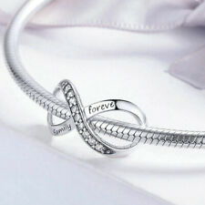 FAMILY FOREVER-Infinity-Lemniscate-Solid genuine 925 sterling silver charm bead