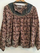 MAISON SCOTCH BOHO INSPIRED PEASANT BLOUSE W GOLD & SILVER LUREX SZ P,1,2, £89