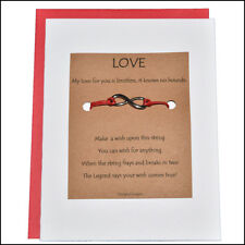 Thoughtful Greeting Card and Wish Bracelet Love with Infinity Charm - Charmed