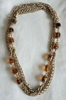 Sarah Coventry Long Multi Gold Chain Amber Tortoishell Capped Bead Necklace 52""