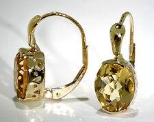 Woman's 14k Yellow Gold Earrings Large Oval Shape Citrine Lever Backs