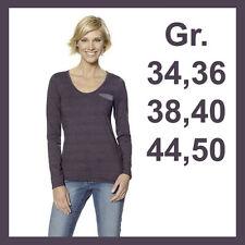 Langarm Damen-Shirts ohne Kragen aus Baumwollmischung