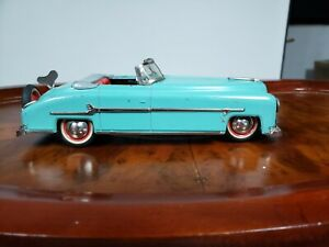"1950 WINDUP TIN DISTLER PACKARD 10"" FULL FUNCTION GEARS US ZONE GERMANY TIN TOY"
