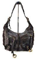 Vintage Isabella Fiore Brown Leather Faux Fur Trim Medium Shoulder Bag Purse