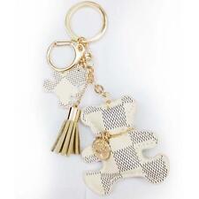 Leather Tassel Charm Key Chain Ring Girl Bag Accessory Handbag Ornament White##