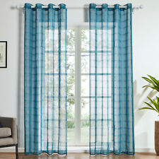 Grid Gauze Sheer Curtains for Living Room Voile Abstract Pattern Window Tulle